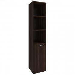 Шкаф высокий Вектор КВ208.26, узкий, 3 открытые полки, 1 дверь, 410*400*2052, Честерфилд темный новый, КВ88+КВ92+ФД07