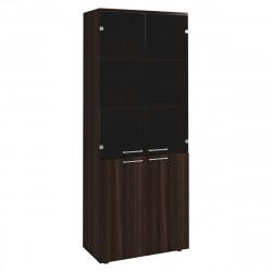 Шкаф высокий Вектор КВ202.26, закрытый, со стеклом, 4 двери, 818*400*2052, Честерфилд темный новый, КВ85+КВ69+КВ72Л+КВ72П+КВ25