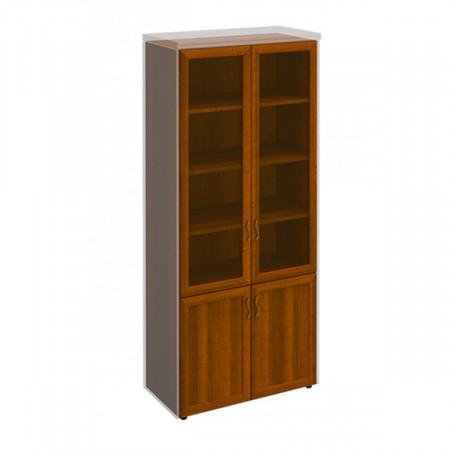Шкаф высокий Мастер 379, закрытый, со стеклом, 4 двери, 900*450*2080, орех темный