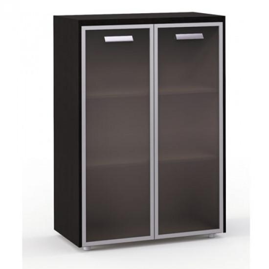 Шкаф средний Бонд, закрытый, со стеклом в раме, 2 двери, топ, панели, 880*440*1244, дуб венге-бежевый