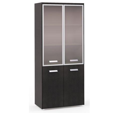 Шкаф высокий Бонд, закрытый, со стеклом в раме, 4 двери, топ, панели, 880*440*2048, дуб венге-бежевый