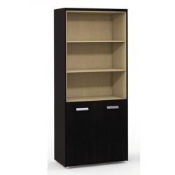 Шкаф высокий Бонд, 3 открытые подки, 2 двери, топ, панели, 880*440*2048, дуб венге-бежевый