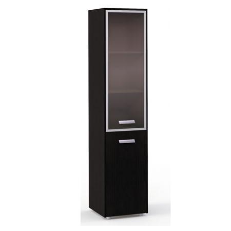 Шкаф высокий Бонд, узкий, закрытый, 2 двери, топ, панели, 440*440*2048, дуб венге-бежевый