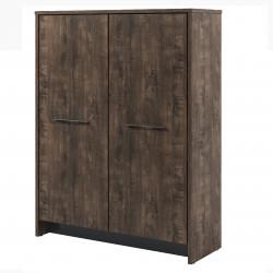 Стеллаж Торстон Т-32-02, 2 секции, закрытый, гардероб+книжный, 2 двери, 1494*520*2120, Дуб Бунратти-Антрацит