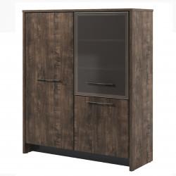 Стеллаж Торстон Т-32-03л, 2 секции, закрытый, гардероб+стекло, 3 двери, 1494*520*212, Дуб Бунратти-Антрацит