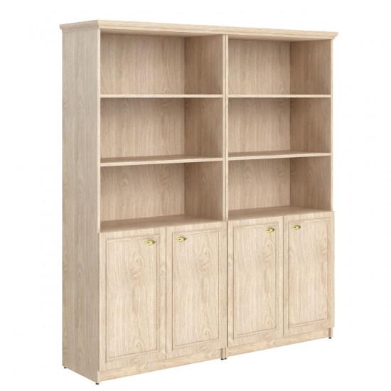 Шкаф высокий Raut RHC 180.5, 3 открытые полки, комбинированный, под 1 топом, 4 двери, 1808*466*2023, Дуб Девон