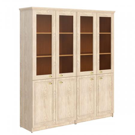 Шкаф высокий Raut RHC 180.2, закрытый, со стеклом, комбинированный, под 1 топом, 8 дверей, 1808*466*2023, Дуб Девон
