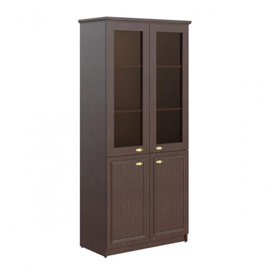 Шкаф высокий Raut RHC 89.2, закрытый, со стеклом, 4 двери, 922*466*2023, Венге Магия