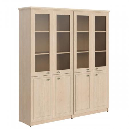 Шкаф высокий Raut RHC 180.2, закрытый, со стеклом, комбинированный, под 1 топом, 8 дверей, 1808*466*2023, Бук Тиара