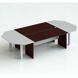 Стол для переговоров Teorema100/1ТМ, 4 суппорта, 3500*1700*750, черн.дуб/металлик