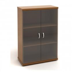 Шкаф средний Эталон КЭ53.3, закрытый, со стеклом, 2 двери, 854*424*1310, орех гварнери