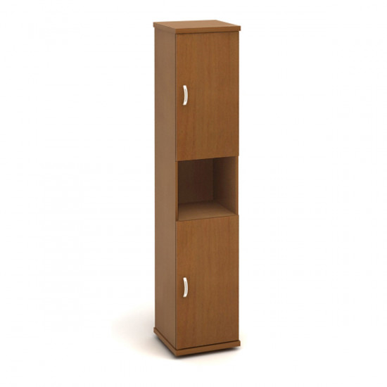 Шкаф высокий Эталон КЭ64.3, узкий, 1 открытая полка, 2 двери, 427*424*2066, орех гварнери