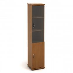 Шкаф высокий Эталон КЭ66.3, узкий, закрытый, со стеклом, 2 двери, 427*424*2066, орех гварнери