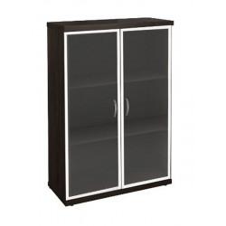 Шкаф средний Эталон КЭ87.14, закрытый, со стеклом в алюминиевой рамке, 2 двери, 854*424*1310, венге