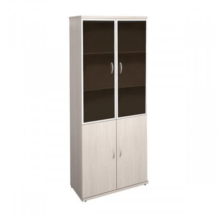 Шкаф высокий Эталон КЭ89.15, закрытый, со стеклом в алюминиевой рамке, 4 двери, 854*424*2066, дуб молочный