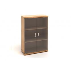 Шкаф средний Эталон КЭ53.1, закрытый, со стеклом, 2 двери, 854*424*1310, бук бавария