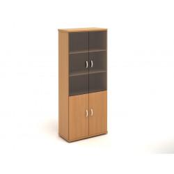 Шкаф высокий Эталон КЭ63.1, закрытый, со стеклом, 4 двери, 854*424*2066, бук бавария