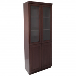 Шкаф книжный С-900, закрытый, со стеклом, 4 двери, Fiorenzo, 800*420*2200, шпон орех