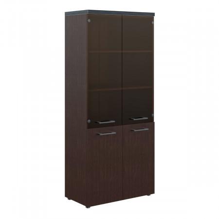 Шкаф высокий Torr ТHС85.2, закрытый, со стеклом, 4 двери, 856*450*1968, Венге Магия, ТHC85+ТLD42-2+TMGT42-1+ TMGT 42-F+TP85