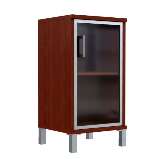 Шкаф низкий Born В411.4, узкий, закрытый, со стеклом в AL рамке, 1 дверь, 475*450*920, Бургунди, В411+В512+В810+Uz40-100-4
