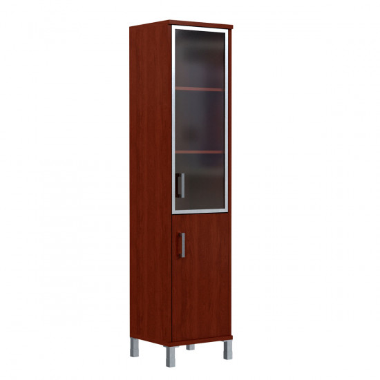 Шкаф высокий Born В431.4, узкий, закрытый, со стеклом в AL рамке, 2 двери, 475*450*2054, Бургунди, В431+В510+В810+В522+Uz40-100-4