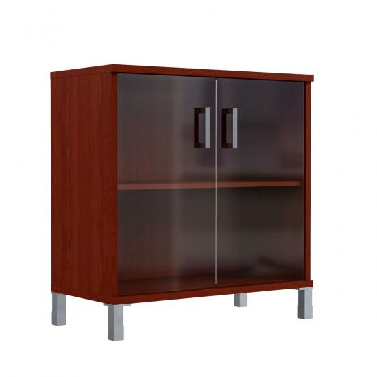 Шкаф низкий Born В410.5, закрытый, со стеклом, 2 двери, 900*450*920, Бургунди, В410+В511+KZ+В820+Uz40-100-4