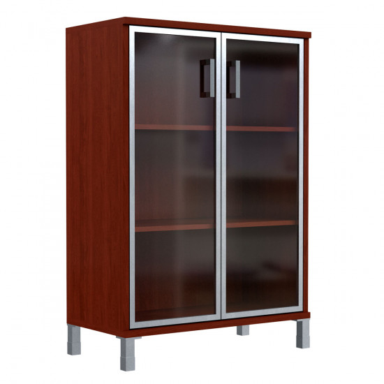 Шкаф средний Born В420.7, закрытый, со стеклом в AL рамке, 2 двери, 900*450*1286, Бургунди, В420+В522+В820+Uz40-100-4