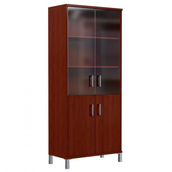 Шкаф высокий Born В430.5, закрытый, со стеклом, 4 двери, 900*450*2054, Бургунди, В430+В510+В521+KZ+В820+Uz40-100-4