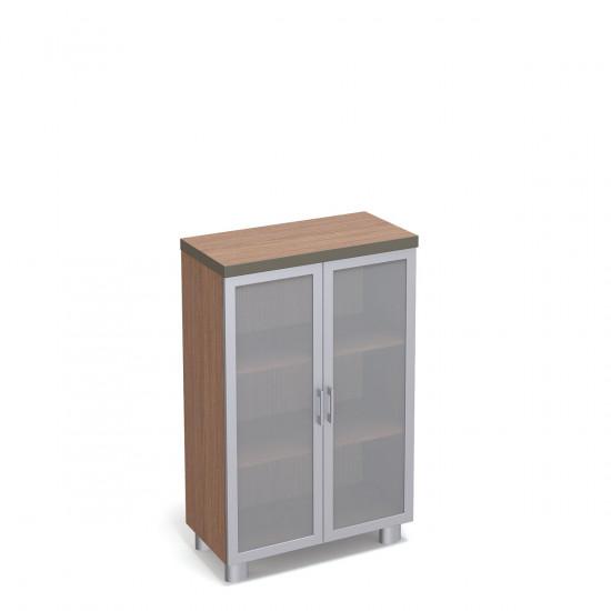 Шкаф средний Турин, закрытый, со стеклом, 2 двери, с топом, 860*400*1300, табак легно