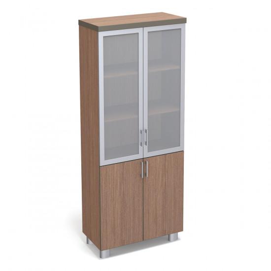 Шкаф высокий Турин, закрытый, со стеклом, 4 двери, с топом, 860*400*2100, табак легно