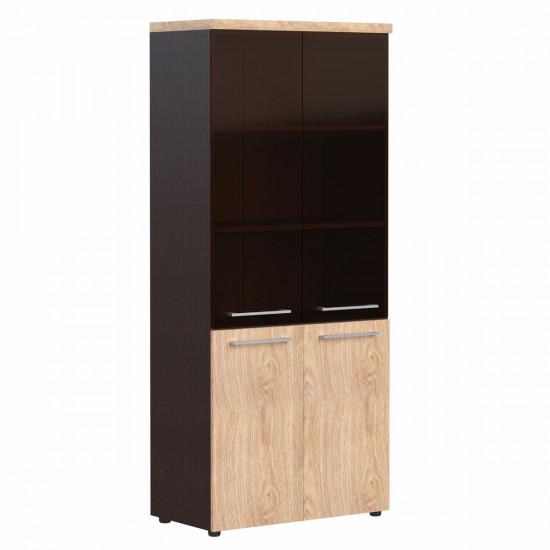 Шкаф высокий Alto АНС85.7, закрытый, со стеклом, 4 двери, 850*430*1969, Дуб Девон/Венге, AНС85+AMGT42*2+фурн+AP85+ALD42-2
