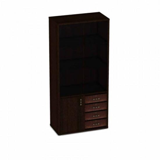Шкаф высокий Дуглас 10128, 3 открытые полки, декоративные фасады, без стекла, 887*449*1993, венге