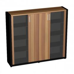 Шкаф комбинированный Верона Вр-2.1, 1816*400*1620, Слива Валлис/Черный