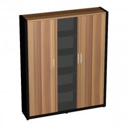 Шкаф комбинированный Верона Вр-2.3, 1816*400*2000, Слива Валлис/Черный