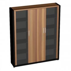 Шкаф комбинированный Верона Вр-2.4, 1816*400*2000, Слива Валлис/Черный