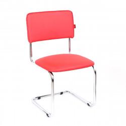 Конференц-кресло Сильвия Орегон №09 кожзам красный, каркас хром
