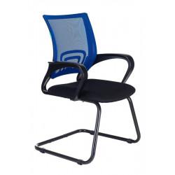 Конференц-кресло CH-695N-AV,BL,TW-11, спинка сетка синяя TW-05, сидушка ткань черная TW-11