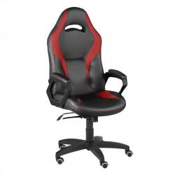 Кресло игровое Конкорд кожзам черный, ткань TW красн (ультра)