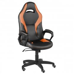 Кресло игровое Конкорд кожзам черный, ткань TW оранж (ультра)