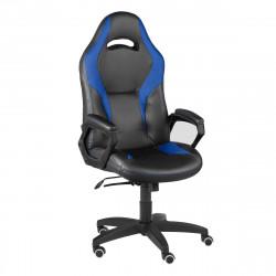 Кресло игровое Конкорд кожзам черный, ткань TW син (ультра)