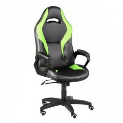 Кресло игровое Конкорд кожзам черный, ткань TW салат (ультра)
