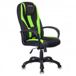 Кресло игровое Viking-9/Bl+Sd ткань черная, кожзам черно-салатовый