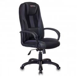 Кресло игровое Viking-9/Black ткань серо-черная кожзам черный