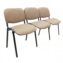 Секция 3 стула Изо без подлокот. 1550*610*760 ткань коричневая в рубчик ТК-6/ ножки муар