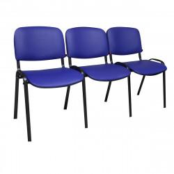 Секция 3 стула Изо без подлокот. 1550*610*760 к/з синий PV-9/308 ножки муар