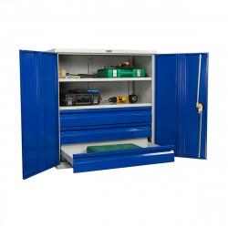 Шкаф инструментальный ТС-1095 1000*950*500 (2 полки, 3 ящика), серо-синий