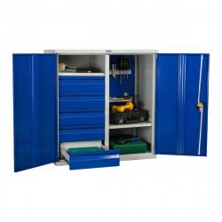 Шкаф инструментальный ТС-1095 1000*950*500 (2 полки, 5 ящ. 1 держатель инструм.), серо-синий
