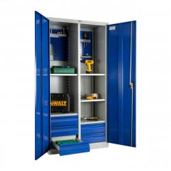 Шкаф инструментальный 1900*950*500 (5 полок, 5 ящ.,держатели для ключей), серо-синий
