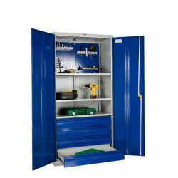 Шкаф инструментальный 1900*950*500 (3 полки, 4 ящ.,держатели для ключей), серо-синий
