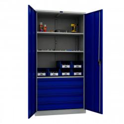 Шкаф инструментальный TC-1995-003040 1900*950*500 (3 б.полки, 4 б.ящика), серо-синий